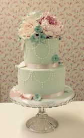 mint green pink cake