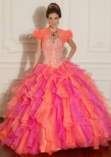 pink orange quinceanera dress 1