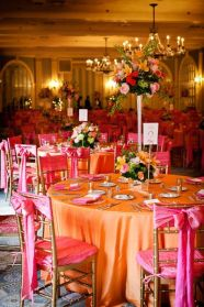 pink orange tables