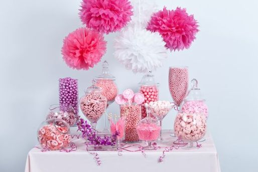 pink purple candy buffet