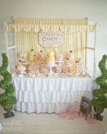 pink yellow candy table