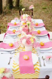 pink yellow table