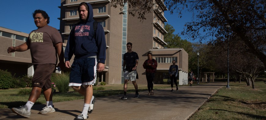 Students walking around the campus