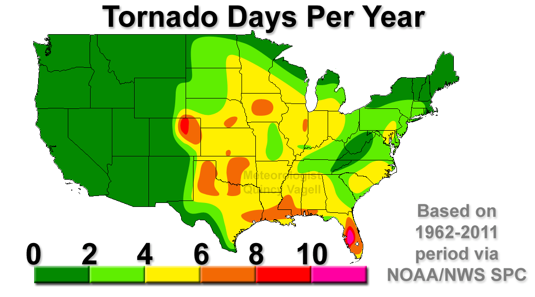 US Tornado Days Per Year Meteorologist Quincy Vagell - Map of tornado frequency in us