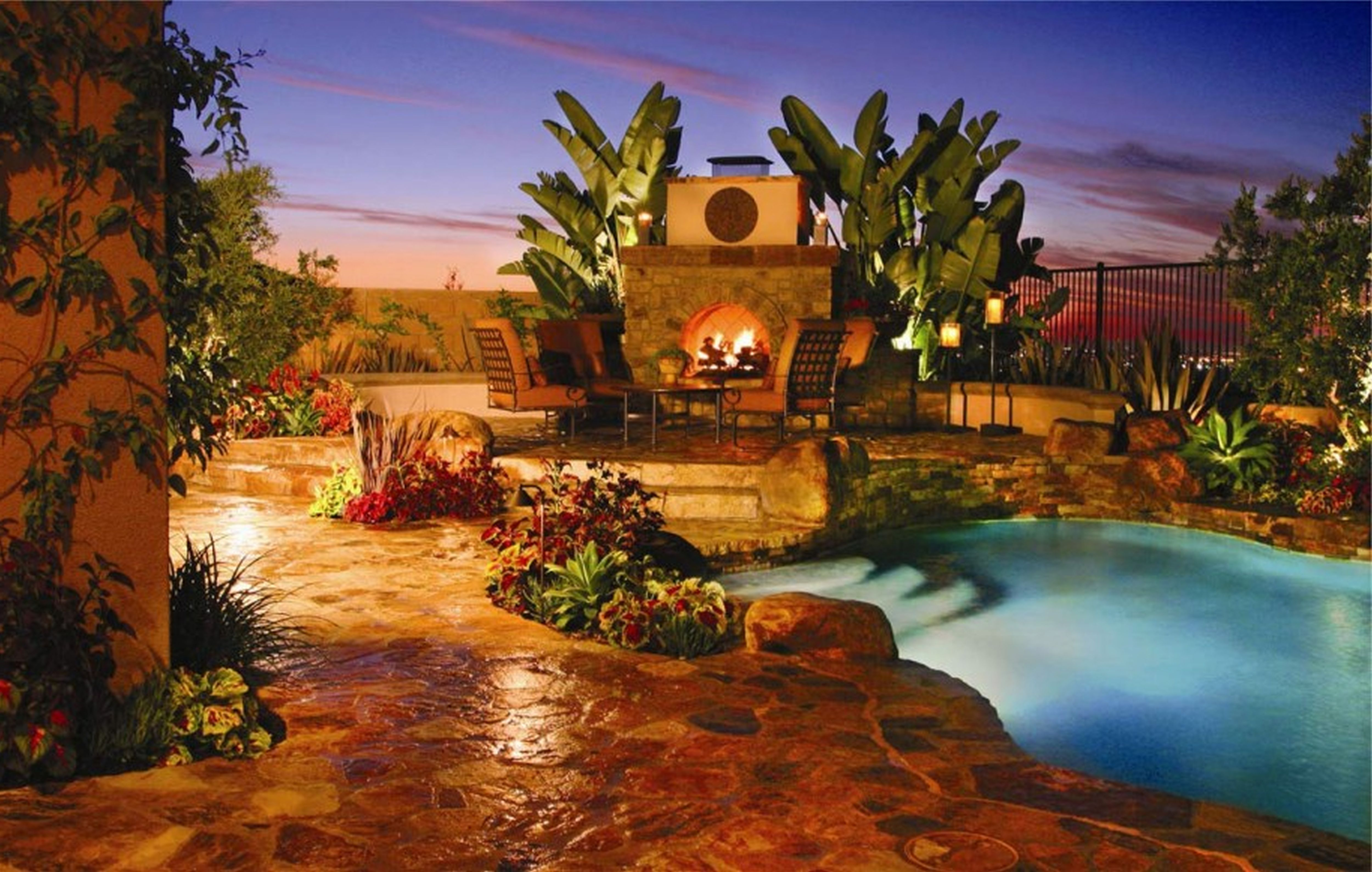 Pool-garden-fire-fireplace-quinju.com-ultimate-swimming ... on Fireplace In The Backyard id=23863