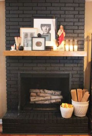 painted brick - fireplace update-quinjucom
