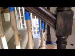 Hand rail refinishing - interior stair renovation - quinju.com