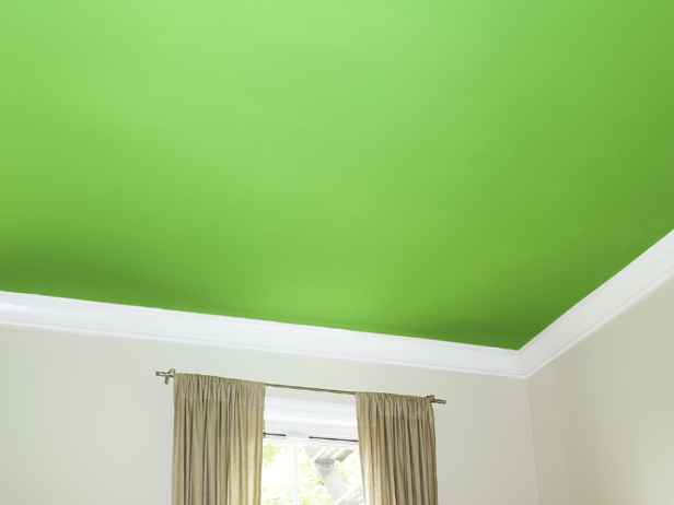 painted ceiling-bright green ceiling-quinju.com