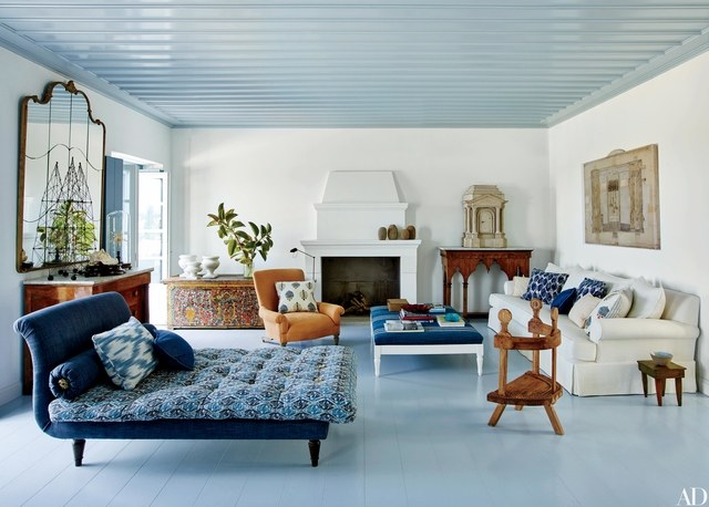 Choosing Ceiling Paint Color-blue ceiling-coordinated room-quinju.com