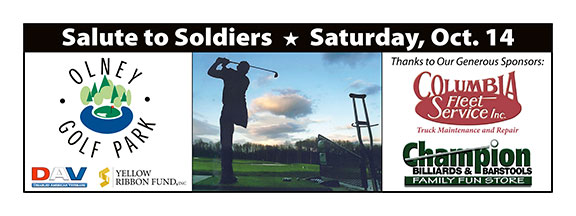 Olney Golf Park's Salute to Soldiers banner