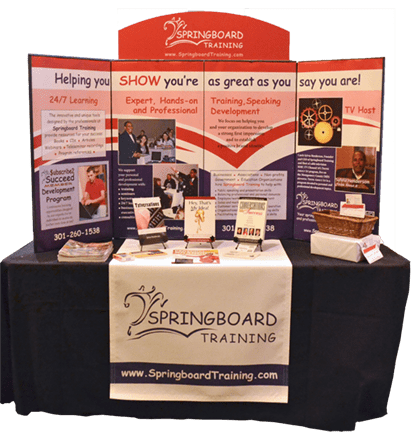 Springboard Training Tradeshow display and table runner