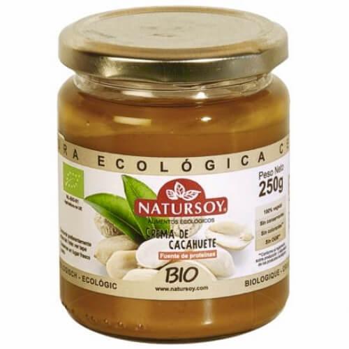 Crema de cacahuete bio, de cultivo orgánico. De Natursoy. 250 gramos.
