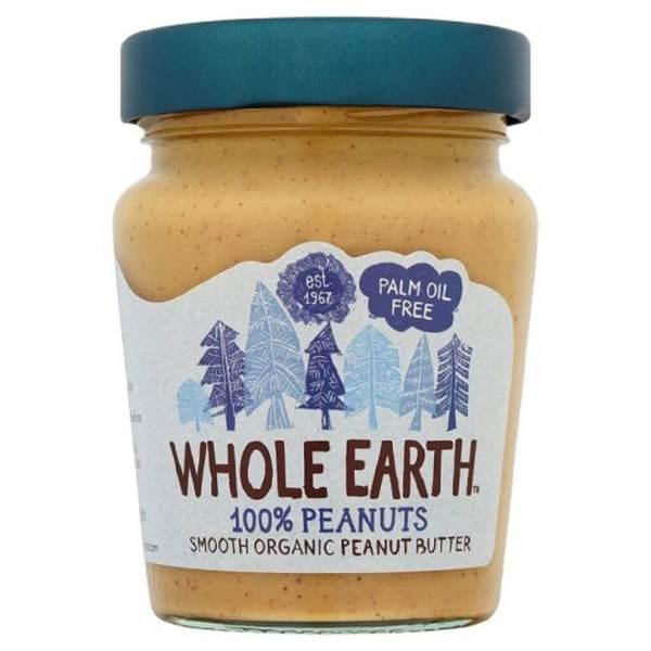 Mantequilla de cacahuete suave. 100 % vegetal y biológica. Sin aceite de palma ni azúcares añadidos. De Whole Earth. 227 gramos.