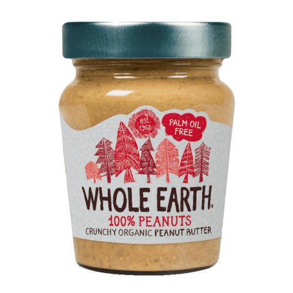 Mantequilla de cacahuete crujiente. Con trocitos de crujiente cacahuete, de cultivo ecológico. De Whole Earth. 227 gramos.