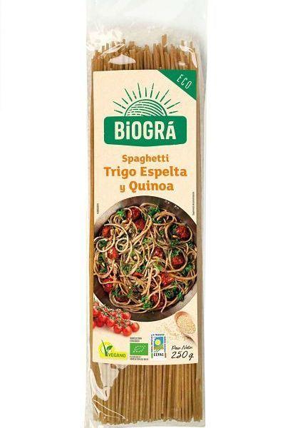 Espagueti de espelta y quinoa. De Biográ. 250 gramos. De ingredientes ecológicos. Fuente de proteínas, alto contenido en fibra. Bajo contenido en sal y azúcares. Rico, sano, ecológico y vegano. Tiempo de cocción: 10-12 minutos.