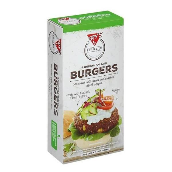 hamburguesa vegana sin gluten de quinoa y falafel
