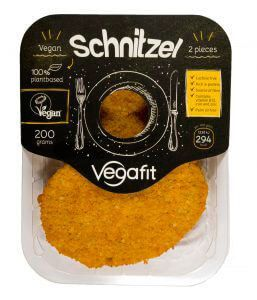 Escalopes veganos Vegafit 200 gramos. Schnitzel veganos, elaborados a base de proteína de trigo rehidratada.