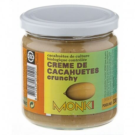 Crema de cacahuete crujiente Monki, de cultivo ecológico controlado. 330 gramos.