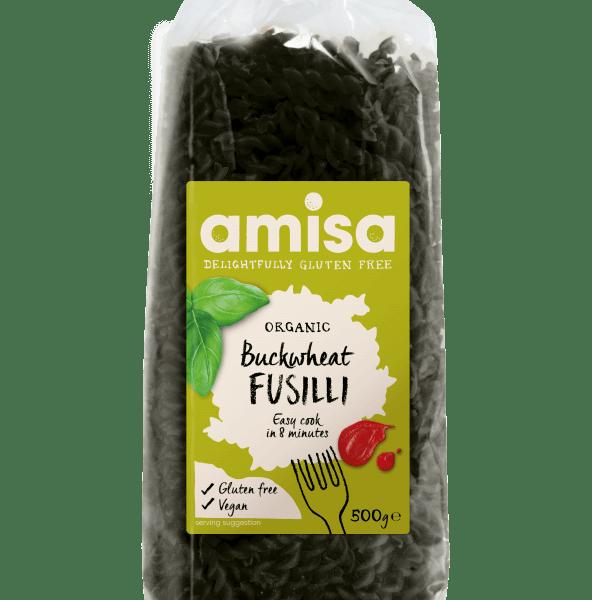 Fusilli de trigo sarraceno Amisa 500 gramos. SIN GLUTEN. Una alternativa a la pasta de trigo. Es una muy buena fuente de fibra y proteínas.
