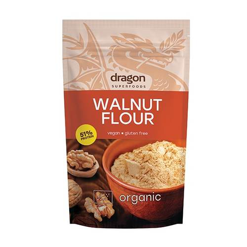 Harina de nueces ecológica Dragon Superfoods. Una alternativa perfecta para intolerantes al gluten. Rica en omega 3, baja en colesterol. 200 gramos.