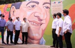 Fue entregado el mural 'Nació mi Poesía' en honor a Jorge Oñate