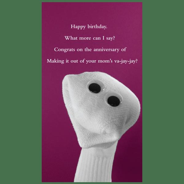 Quiplip Birthday Va Jay Jay Greeting Card From The Sock