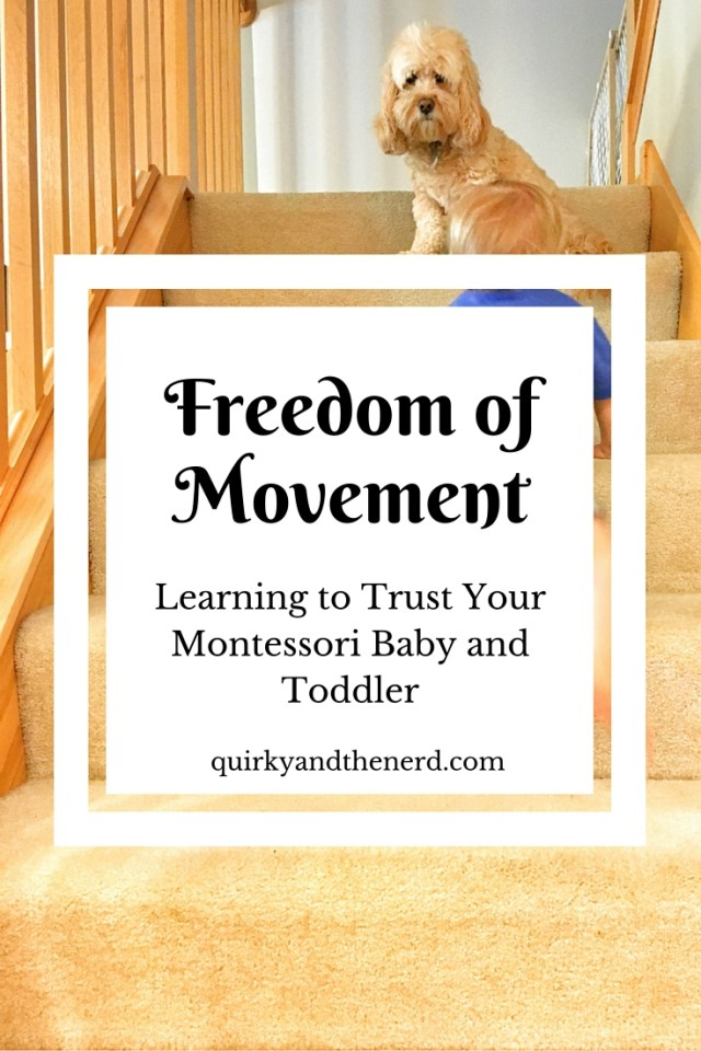Freedom of movement is a large part of Montessori for babies and toddlers. But learning to trust your child is hard. Read more at quirkyandthenerd.com