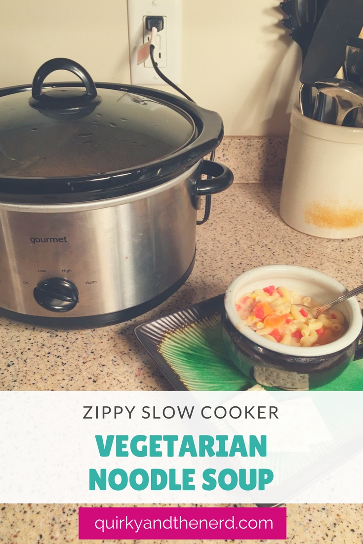 Need something to warm you up on a cold winter day? Try my Zippy Slow Cooker Vegetarian Noodle Soup. It is easy and delicious. quirkyandthenerd.com