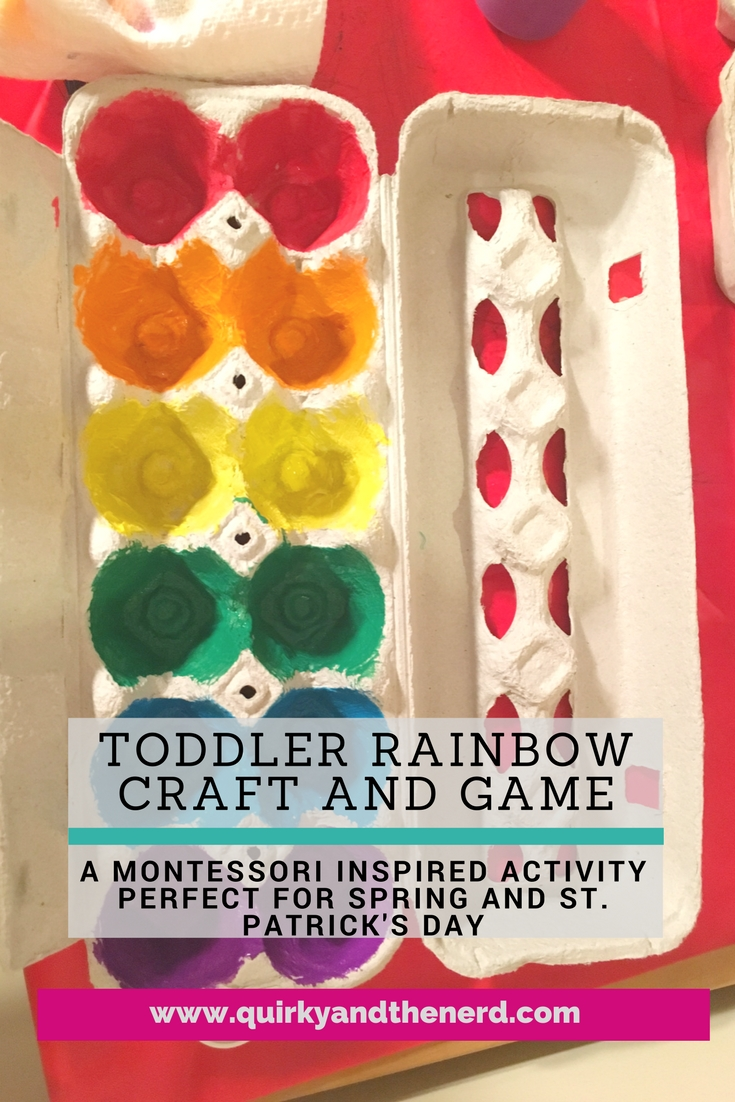 This toddler rainbow craft is perfect for spring and St. Patrick's Day. Not only is it an easy craft, but it can be used for some Montessori inspired color work. Easy and fun! quirkyandthenerd.com