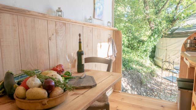 inside the kitchen in la cachette