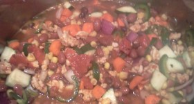 My homemade turkey and veggie chili is sure to be a hit this Halloween.
