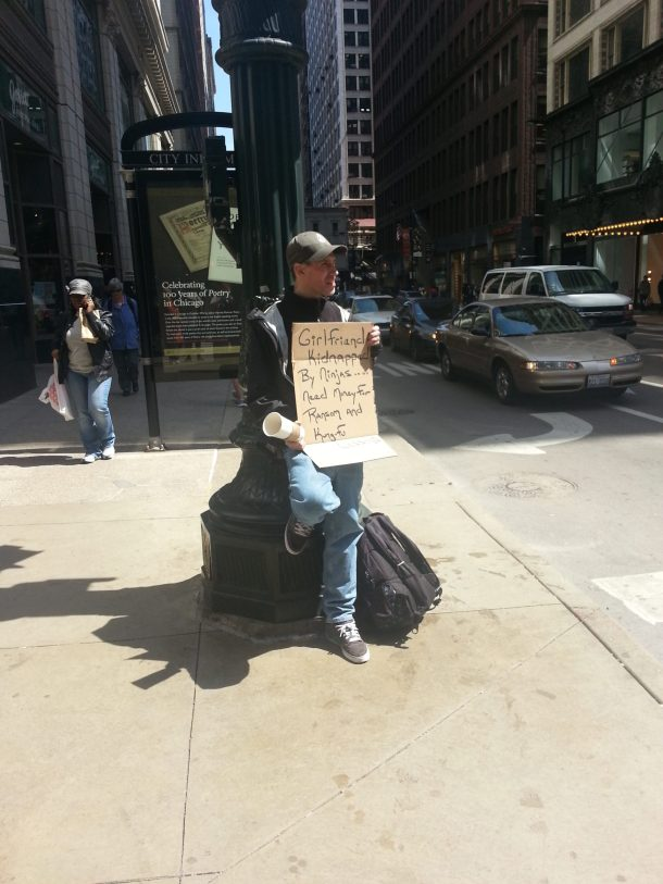 The best panhandling ever: girlfriend captured by ninjas need money for kung foo lessons