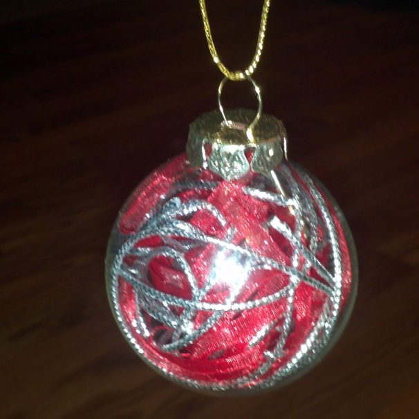 Red and Silver ribbon ornament