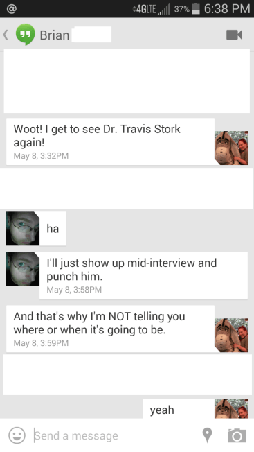 Textversation My boyfriend wants to punch Dr. Stork