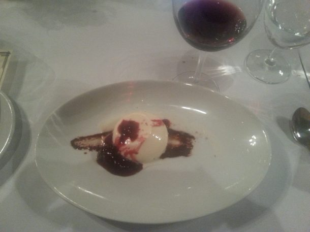 Black pepper panna cotta with aztec chocolate and red wine-blackberry compote