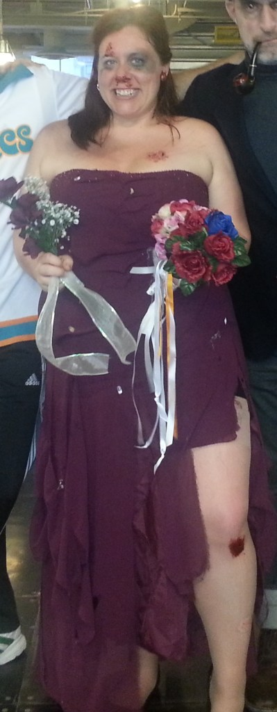 If you're looking for a creative, unique Halloween costume with an old bridesmaid dress, consider the bouquet toss winner.