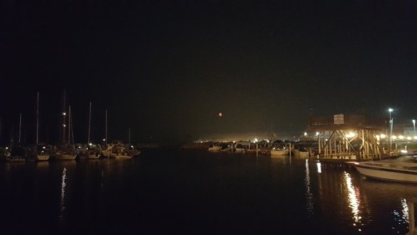 Red moon at the dock