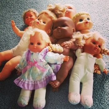 I thrifted for creepy dolls that I would use for Halloween
