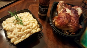 creamy homemade mac and cheese with rotisserie chicken