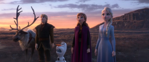 The whole Frozen squad (Anna, Elsa, Kristoff, Olaf, and Sven) stare in awe into the unknown.