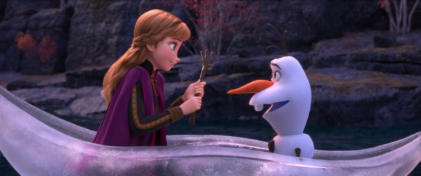 Anna and Olaf share an icy boat ride.