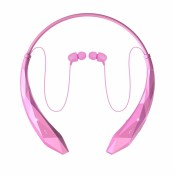 Pink cordless bluetooth earbuds headset