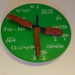 Sausages as hands on a math clock