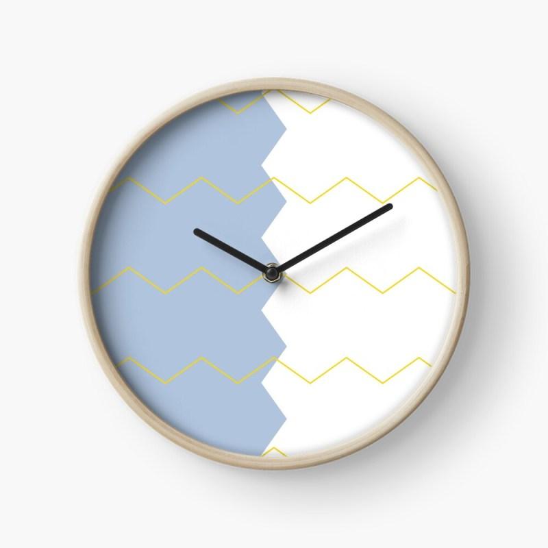 zigzag blue white & yellow clock