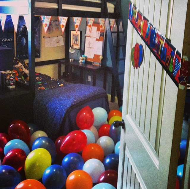 Here S A Fun Sneak K Inside Preston Bedroom When I Filled It Up With Balloons For His Birthday The Nerf Wall Is To Left Not Shown In Photo