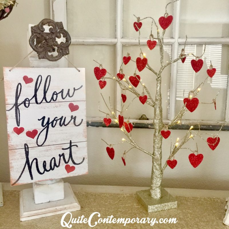 DIY Valentines Day Decor Using Refurbished Christmas