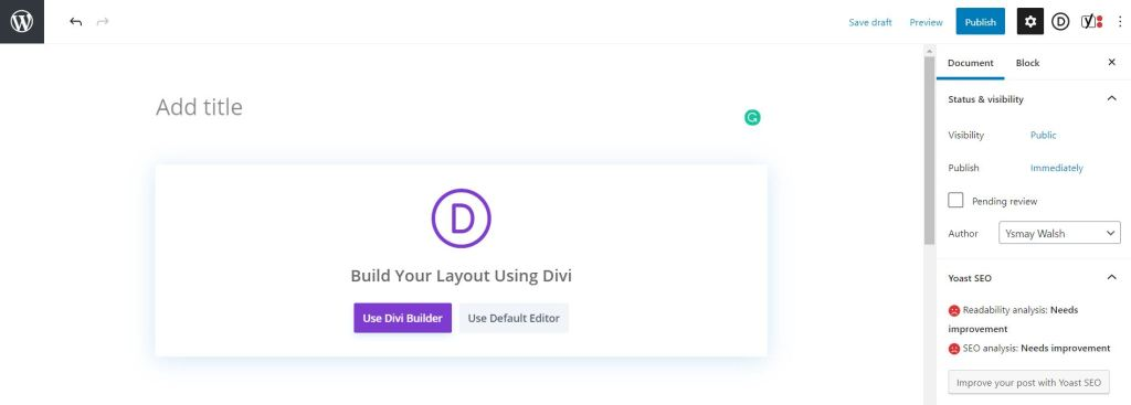How to start building your blog design with Divi.