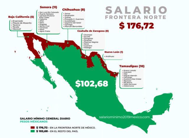 Mapa Salarios mínimos 2019