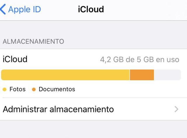 iCloud liberar espacio