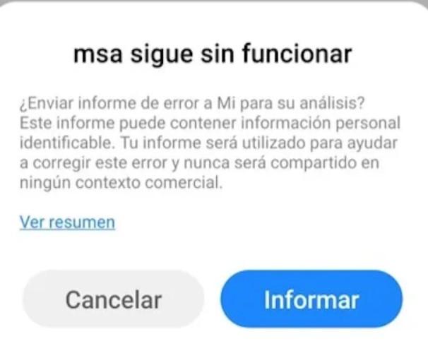 MSA Error Xiaomi